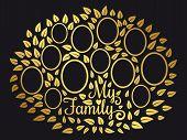 Golden Vintage Genealogy Tree. Genealogical Family Tree Vector Illustration On Black Background. Gen poster