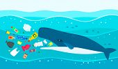 Ecological Disaster Of Plastic Garbage In The Ocean. A Large Sperm Whale Eats Plastic Trash Against  poster