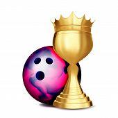 Bowling Award Vector. Bowling Ball, Golden Cup. Banner Advertising. Sport Event Announcement. Compet poster