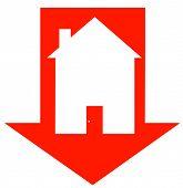 Постер, плакат: Красная стрелка вниз с домом