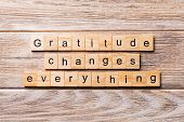 Gratitude Changes Everything Word Written On Wood Block. Gratitude Changes Everything Text On Wooden poster
