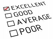 Evaluation Is Excellent. Evaluation Sheet With Red Check Mark On The Point Of Excellent. Isolated. 3 poster