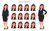 Set Of Different Face Expressions/emotions For Female Cartoon Character. Beautiful Woman Emoji/avata poster