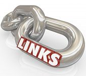 stock photo of interlock  - Several metal chains linked together with the word Links illustrating how things are connected in relationships and communication - JPG