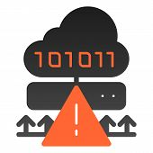 Cloud Cyber Attack Flat Icon. Ddos Server Hack Color Icons In Trendy Flat Style. Server Attack Gradi poster