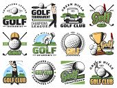 Golf Sport Game Symbols And Equipment Icons. Vector Golfer And Ball, Stick, Cart, Hole And Golf Cour poster