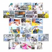 foto of manufacturing  - Industrial collage showing workers at work on production of medicines in pharmaceutical factory  - JPG