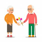 Elderly Man Giving Flowers To Woman. Grandpa Giving Bouquet Of Flowers To An Elderly Woman. Pensione poster