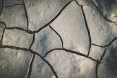 Black Cracked Ground,cray Soil,mud Crack. Gray Cracked Earth Background Texture poster