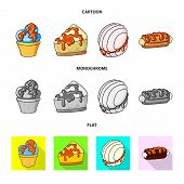 Vector Illustration Of Confectionery And Culinary Sign. Set Of Confectionery And Product Stock Symbo poster