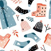 Fall Season Clothing And Accessories. Autumn Mood Seamless Pattern. Flat Doodles. Hand Drawn Texture poster