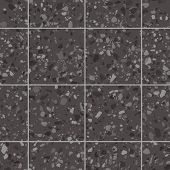 Black Granite Terrazzo Flooring Texture With Square Tiles. Vector Seamless Pattern Of Mosaic Floor S poster