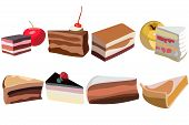 A Set Of Pieces For A Cake, Eight Pieces Of Different Shapes And From Different Ingredients poster
