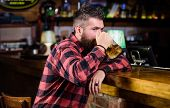 Bar Is Relaxing Place Have Drink And Relax. Man With Beard Spend Leisure In Dark Bar. Hipster Relaxi poster