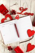 Flatlay For For Valentines Day. White Boards With Red Hearts, Text Love, Gifts And Treasure. poster