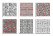 Set Of Seamless Pavement Textures. Vector Repeating Patterns Of Street Tiles poster