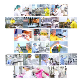 stock photo of pharmaceuticals  - Industrial collage showing workers at work on production of medicines in pharmaceutical factory  - JPG