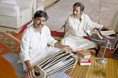 image of customary  - Hanumant Ghadge and Manoj Desai tabla player and singer musician rehearsing at private event on 26th April 2012