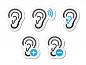 stock photo of human ear  - Hearing problem black icons  - JPG