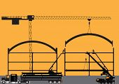 stock photo of cherry-picker  - Silhouette of a Construction Site with Tower Crane Cherry Pickers Mobile Crane and Semi Trailer Loaded with Girders - JPG