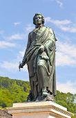 foto of mozart  - The statue of Mozart in the Mozart Square in Salzburg Austria  - JPG