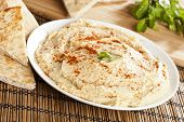 picture of pita  - Fresh Made Organic Hummus with Pita Bread - JPG