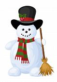 Christmas snowman. Vector illustration.