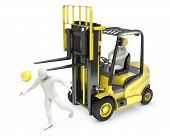 stock photo of lift truck  - Abstract white man was hit by lift truck fork due to safety violation isolated on white background - JPG