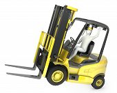 Abstract White Man In A Fork Lift Truck, Balancing On Rear Wheels