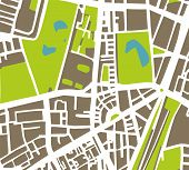 Abstract vector city map with white streets, dark brown buildings, green park and blue ponds.