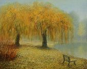 stock photo of weeping willow tree  - An oil painting on canvas of a couple of weeping willow trees in the park near a lake in an early misty autumn morning - JPG