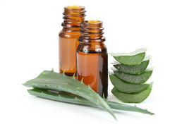 stock photo of aloe-vera  - two bottles of aloe vera essential oil isolated on white - JPG