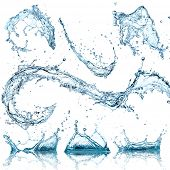 stock photo of wet  - Water splashes collection over white background - JPG