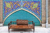stock photo of iranian  - Bench in Golestan palace in Tehran in Iran - JPG