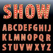 vector red show business alphabet with bulb lamps