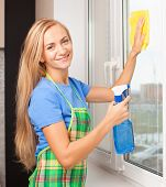 stock photo of window washing  - Woman washing window - JPG