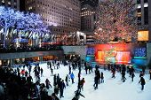 NEW YORK CITY, NY -DEC 30: Rockefeller Center skating rink at night on December 30, 2011, New York C