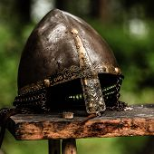 stock photo of viking  - helmet from the viking age in norway - JPG
