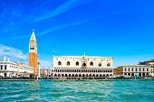Venice Landmark, Piazza San Marco With Campanile And Doge Palace. Italy