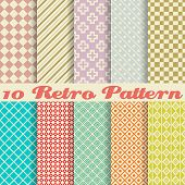 stock photo of tens  - Ten retro different vector seamless patterns  - JPG
