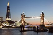 picture of bridges  - London Tower Bridge and The Shard at night - JPG