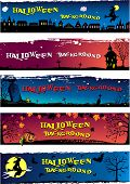 image of yellow castle  - Set of different Halloween backgrounds with space for your text - JPG