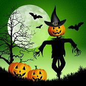 stock photo of scarecrow  - an illustration of a Scarecrow with pumpkins for Halloween - JPG