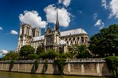 Notre Dame De Paris Cathedral On Cite Island, France