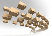 picture of fragile  - Stream of flying cardboard boxes - JPG