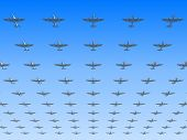 image of spitfire  - A massed formation of soviet version of Spitfire fighters flying overhead - JPG