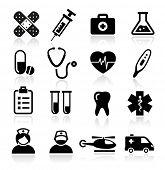 stock photo of helicopter  - Collection of medical icons - JPG