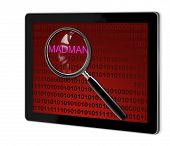 pic of madman  - close up of magnifying glass on madman on screen of tablet made in 3d software - JPG