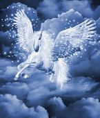 pic of pegasus  - Computer graphics scene with a white pegasus in the clouds - JPG