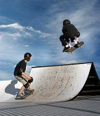 stock photo of fail-safe  - Kids skateboarding - JPG